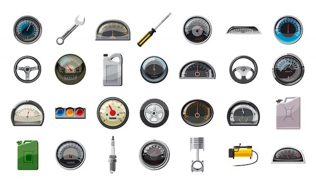 Набор элементов автозапчастей. мультяшный набор автозапчастей