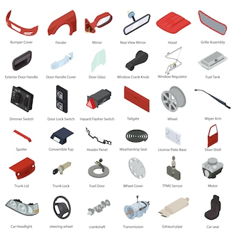 Car parts elements set, isometric style