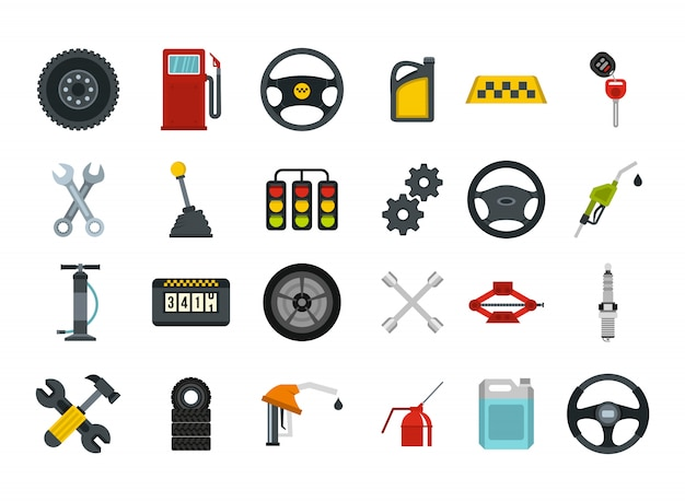 Car parts icon set. flat set of car parts vector icons collection isolated