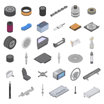 Car parts icons set, isometric style