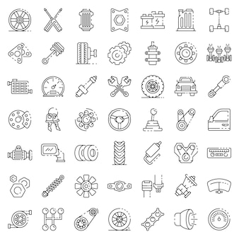 Car parts icons set, outline style