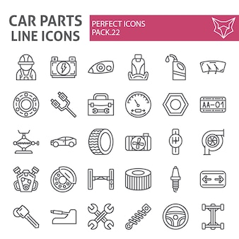 Car parts line icon set, automobile collection
