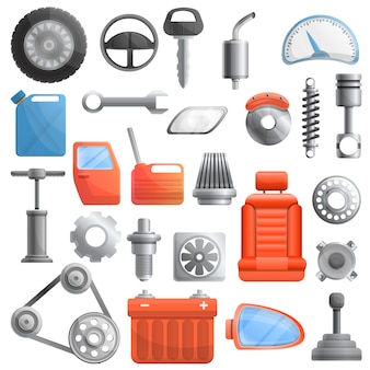 Car parts set, cartoon style