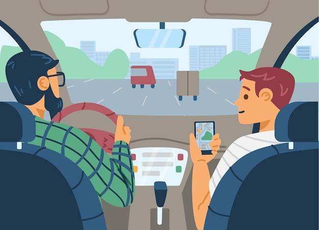 Пассажир автомобиля, показывающий водителю навигатор, карта плоской векторной иллюстрации