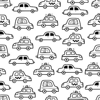 자동차 패턴 낙서 스케치 스타일