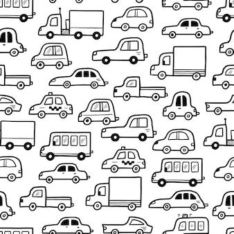 Car pattern doodle sketch style