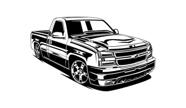 車のピックアップシルエット Premiumベクター