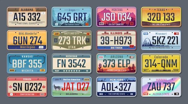 車のプレート。さまざまな州のアメリカの登録番号、車両のナンバープレート。ベクトル分離イラスト
