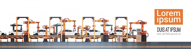 Car production conveyor automatic assembly line machinery industrial automation industry concept