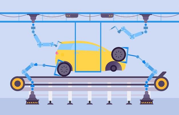 자동차 생산 공장 개념 그림입니다. 컨베이어 공장에서 만화 로봇 장비를 사용한 자동차 건설. 프리미엄 벡터