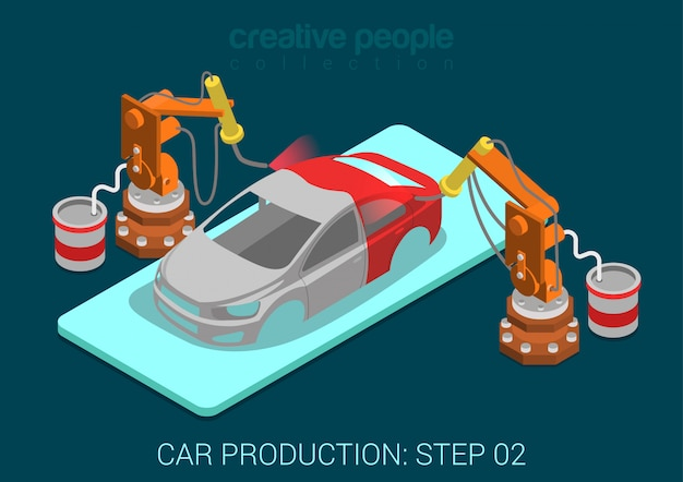 Car production plant process step painting automatic robot works flat isometric infographic concept illustration. spray paint robots in assembly shop.