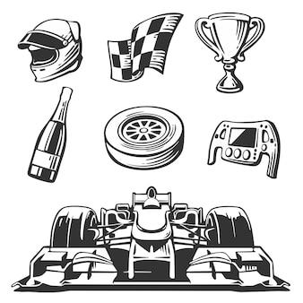 자동차 경주 아이콘을 설정합니다. 헬멧, 바퀴, 타이어, 속도계, 컵, 플래그, 흰색 배경에 고립 된 벡터 평면 그림.