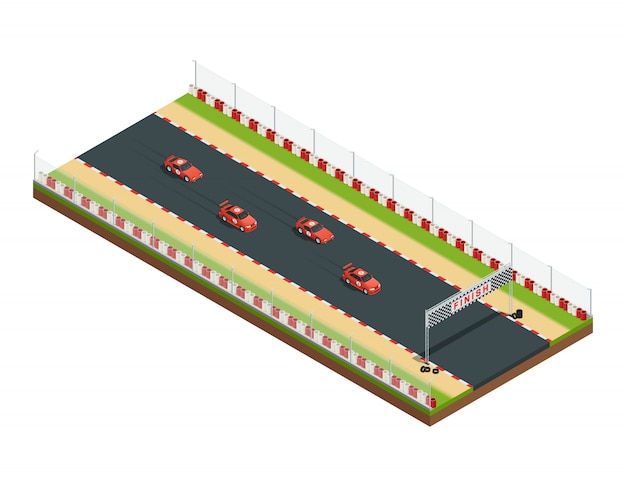 Car race track isometric composition with part of racing course