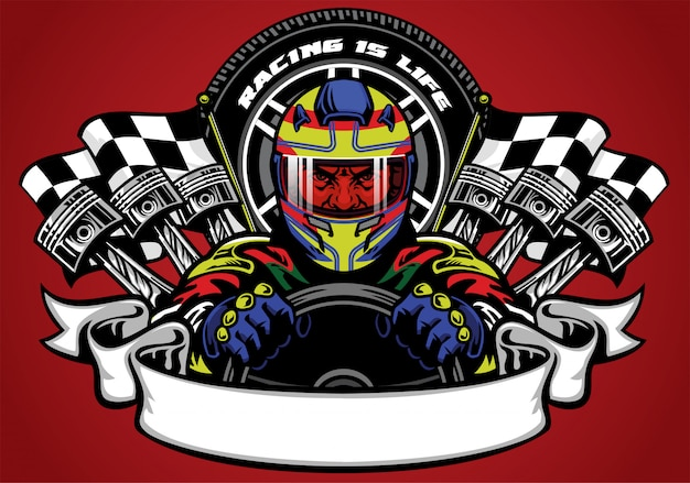 Car racer wearing helmet with ribbon for text space