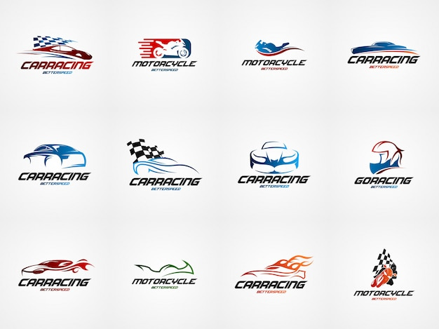 Car racing design logo template