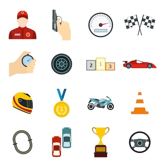 Car racing flat elements set for web and mobile devices