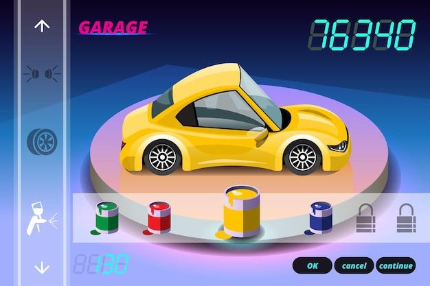 Car racing game in display menu