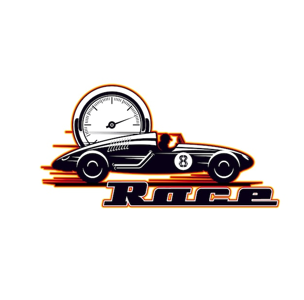 Car racing icon, vintage vehicle races and speed rides, vector symbol. old motors and sport car rally and speed drift or drag racing championship, sport club icon