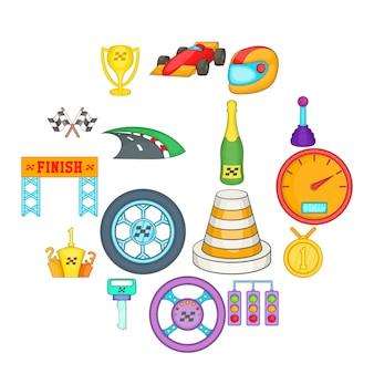 Car racing icons set, cartoon style