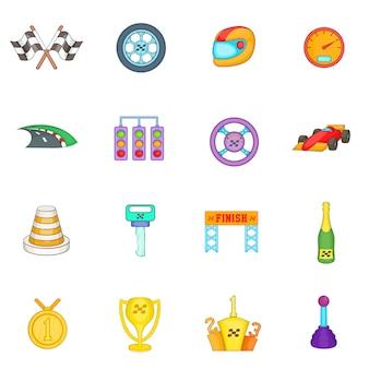Car racing icons set