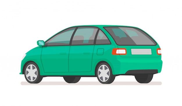白い背景の上の車のリアビュー。家族の乗り物