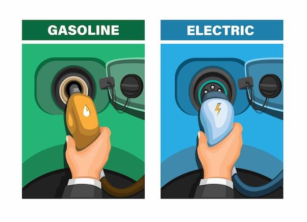Car refuel gasoline and recharging electric comparison