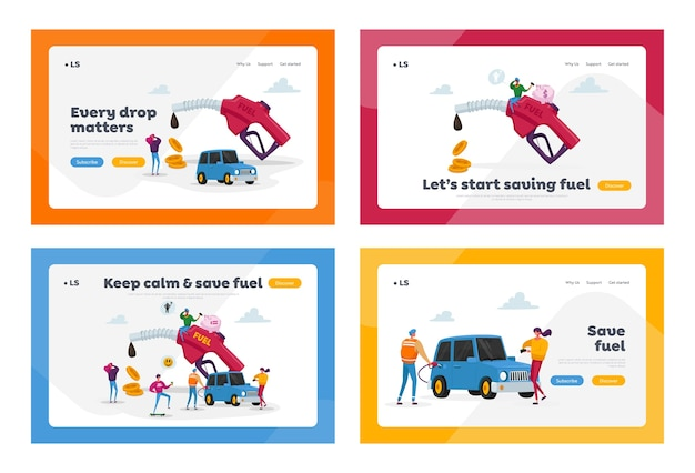 Car refueling on fuel station landing page template set