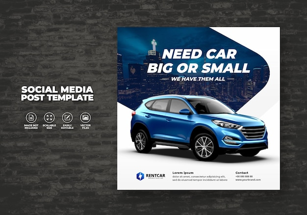 プロモーションソーシャルメディアテンプレートスクエアポストバナーベクターのレンタカーと販売