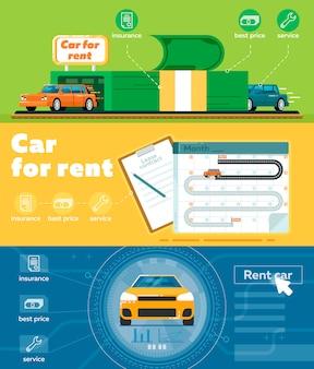 Car for rent banner set in flat design
