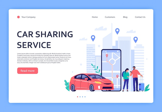 Car rent. cars rent phone services, car sharing or taxi mobile application. urban locations, travel points on city map landing page  illustration