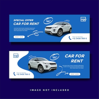 Car rent facebook cover banner ad template