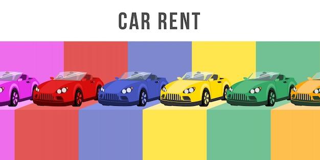 Car rent flat banner vector template
