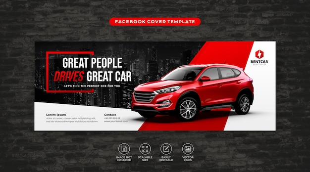 Car rent and sale social media facebook cover template vector