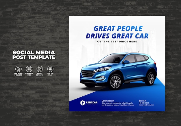 Car rent and sell post template for promotion social media square banner vector