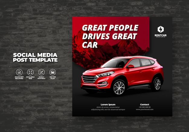 Car rent and sell for promotion post template social media square banner vector