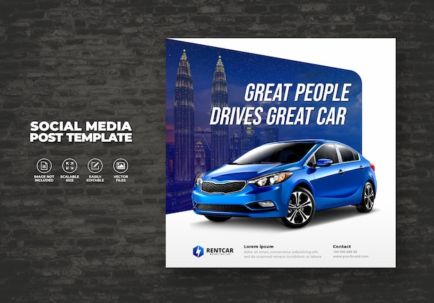 Car rent and sell for promotion social media post square template  banner vector
