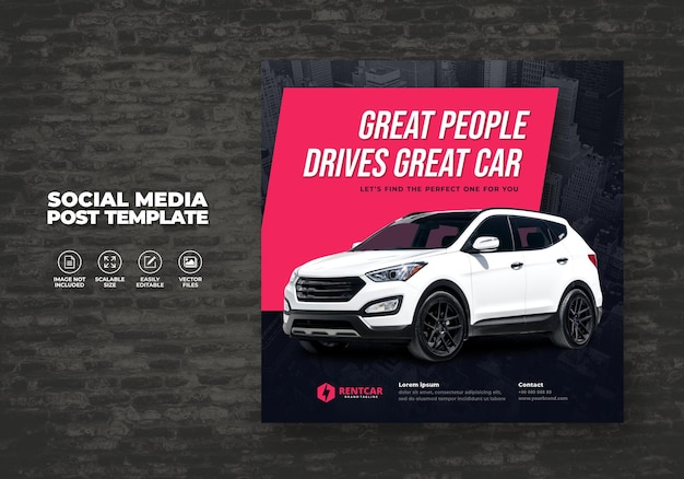 Car rent and sell for promotion social media square post banner vector template