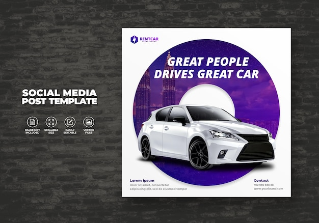Car rent and sell for promotion social media square template post banner vector