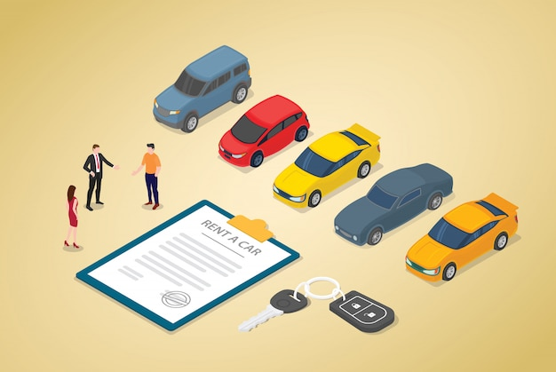 Car rental business with various cars model and paper contract with team people