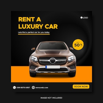 Car rental instagram social media post banner template