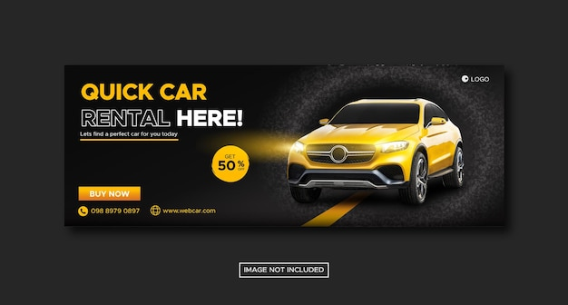 Car rental promotion social media cover banner with round podium template Premium Vector