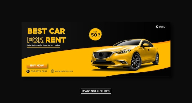 Car rental promotion social media cover banner with round podium template