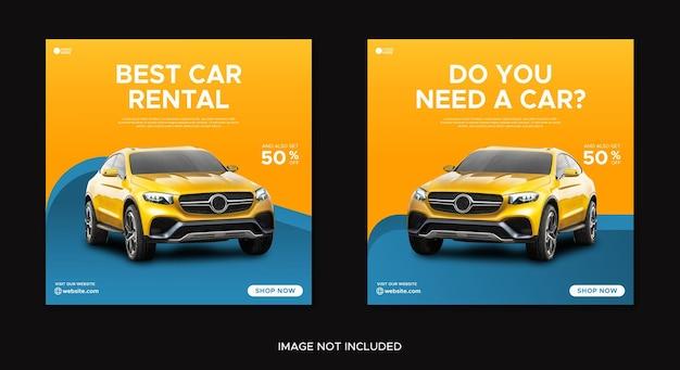Car rental promotion social media instagram post banner template
