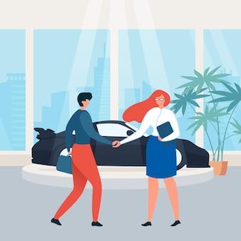 Car rental showroom buying car flat