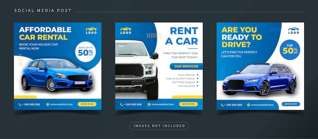 Car rental social media banner for digital marketing