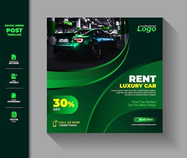 Car rental social media post square banner
