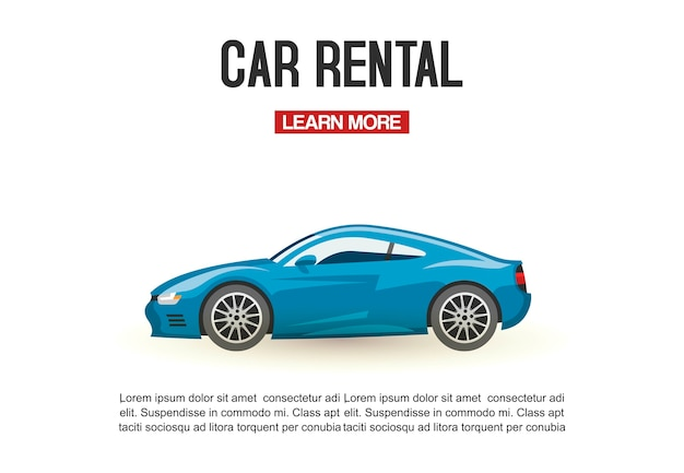 Car rental vector illustration template. modern blue automobile