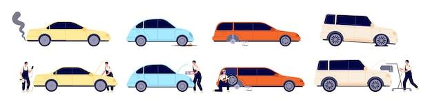 차 수리. 자동차 서비스, 진단 휠 유지 보수. 자동차와 함께 작업하는 자동차 정비사, 운송 문제 해결 벡터 일러스트레이션. 자동차 정비사 수리, 차량 자동차 진단