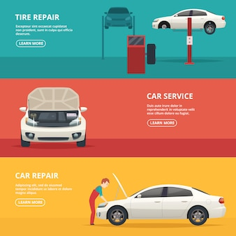 Car repair banners. workers at automobile workshop service maintenance car with mechanic tools.