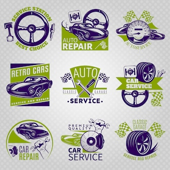 Car repair in color emblem set on service station best choice and different slogans vector illustration